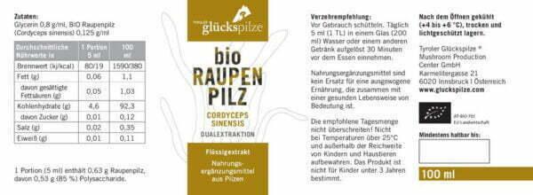 raupenpilz cordyceps sinensis bio fluessigextrakt 100ml flasche 02